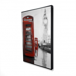 Framed 24 x 36 - 3D - Red phonebooth with the big ben