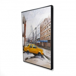 Framed 24 x 36 - 3D - Taxi in the street sketch