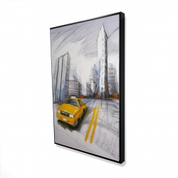 Framed 24 x 36 - 3D - Yellow taxi and city sketch