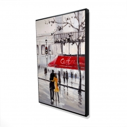 Framed 24 x 36 - 3D - Couple walking near a coffee shop