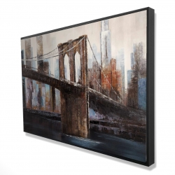 Framed 24 x 36 - 3D - Urban brooklyn bridge