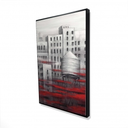 Framed 24 x 36 - 3D - Gray city with red clouds