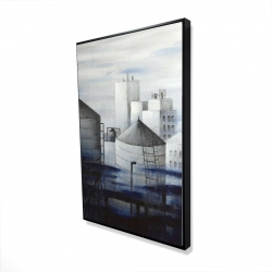 Framed 24 x 36 - 3D - Gray city with blue clouds