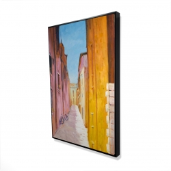 Framed 24 x 36 - 3D - Colorful houses in the streets of collioure