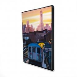 Framed 24 x 36 - 3D - Sunset over the subway in new-york