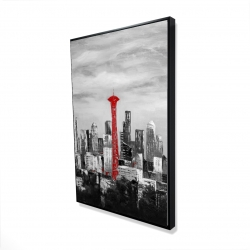 Framed 24 x 36 - 3D - Space needle in red