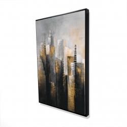 Framed 24 x 36 - 3D - Abstract gold skyscraper