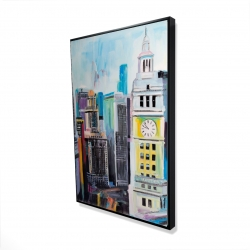 Framed 24 x 36 - 3D - Colorful cityscape of manhattan