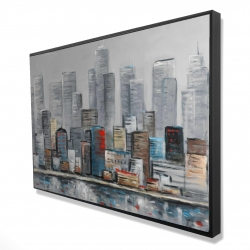 Framed 24 x 36 - 3D - Abstract city skyline