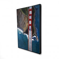 Framed 24 x 36 - 3D - Overhead view of the golden gate and mountains