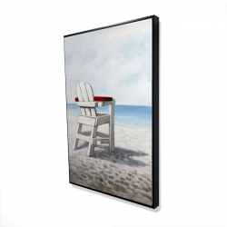 Framed 24 x 36 - 3D - White beach chair