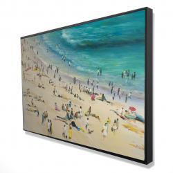 Framed 24 x 36 - 3D - Summer crowd at the beach