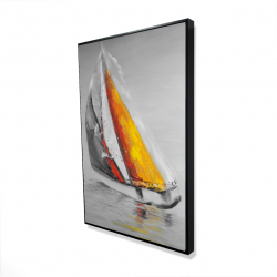 Framed 24 x 36 - 3D - Two colors sailing boat