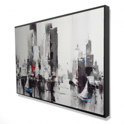 Framed 24 x 36 - 3D - Abstract boats with cityscape