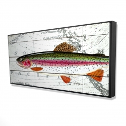 Framed 24 x 48 - 3D - Trout on a world map