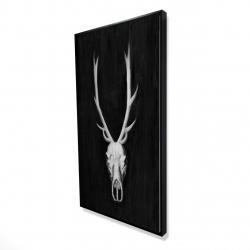 Framed 24 x 48 - 3D - Deer skull on black background