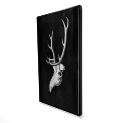 Framed 24 x 48 - 3D - Deer skull in the dark