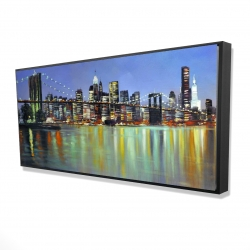 Framed 24 x 48 - 3D - Colorful city with a bridge by night