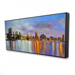 Framed 24 x 48 - 3D - Colorful city with a bridge by day