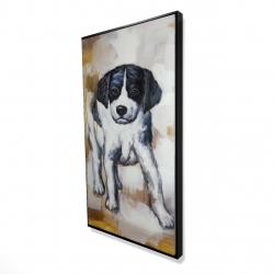 Framed 24 x 48 - 3D - Curious puppy dog