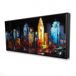 Framed 24 x 48 - 3D - Colorful abstract cityscape on a dark background