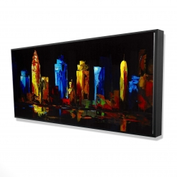 Framed 24 x 48 - 3D - Colorful buildings on a dark background