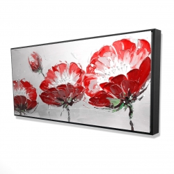 Framed 24 x 48 - 3D - Wild flowers on gray background