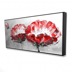Framed 24 x 48 - 3D - Two wild flowers on gray background