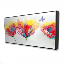 Framed 24 x 48 - 3D - Colorful flowers with a butterfly