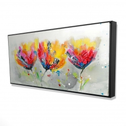 Framed 24 x 48 - 3D - Four colored flowers on gray background