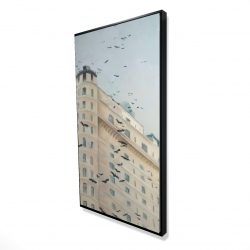 Framed 24 x 48 - 3D - Birds flying in front of a building