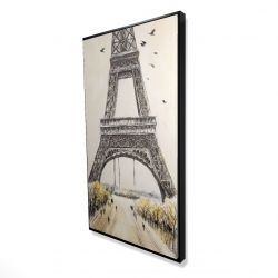 Framed 24 x 48 - 3D - Eiffel tower with flying birds