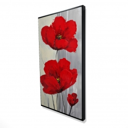 Framed 24 x 48 - 3D - Red flowers on a gray background
