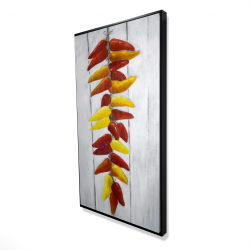 Framed 24 x 48 - 3D - Rope of peppers with wood background
