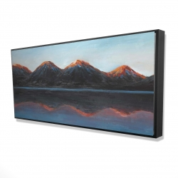 Framed 24 x 48 - 3D - Mountains and calm lake