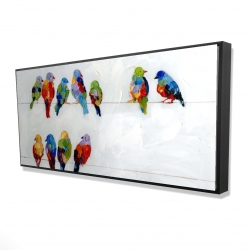 Framed 24 x 48 - 3D - Colorful birds on a wire
