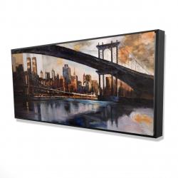 Framed 24 x 48 - 3D - Bridge in the city at sunset