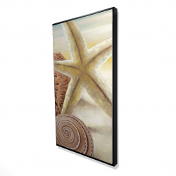 Framed 24 x 48 - 3D - Starfish and seashells at the beach