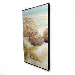 Framed 24 x 48 - 3D - Starfish and seashells view on the beach