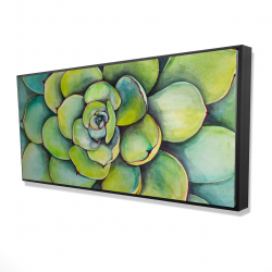 Framed 24 x 48 - 3D - Watercolor succulent plant
