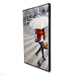 Framed 24 x 48 - 3D - Woman walking with her umbrella
