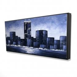 Framed 24 x 48 - 3D - Dark blue cityscape