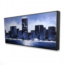 Framed 24 x 48 - 3D - Marine blue city