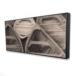 Framed 24 x 48 - 3D - Sepia canoes