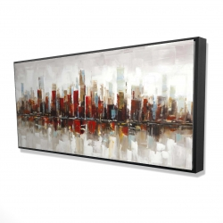 Framed 24 x 48 - 3D - Abstract colorful skyscrapers