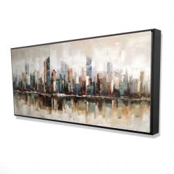 Framed 24 x 48 - 3D - Abstract buildings with textures