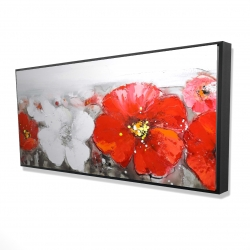 Framed 24 x 48 - 3D - Gray field with red flowers