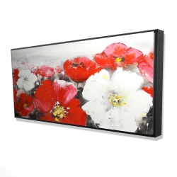 Framed 24 x 48 - 3D - Red and white flowers field
