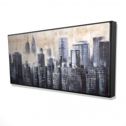 Framed 24 x 48 - 3D - Buildings through the clouds