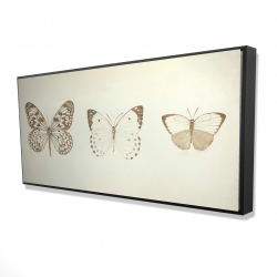 Framed 24 x 48 - 3D - Sepia butterflies